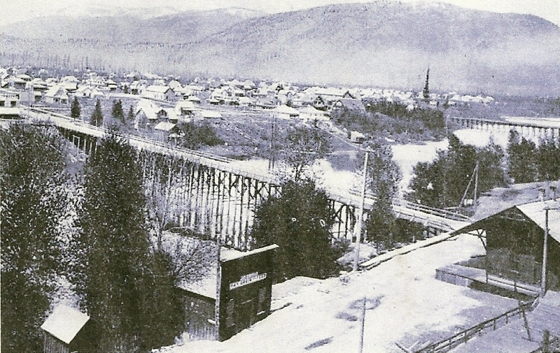 The Cedar Street Bridge from the east side of Sand Creek in Old Sandpoint.