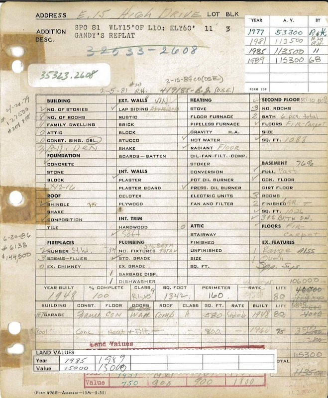 Blandings House Property Record Card