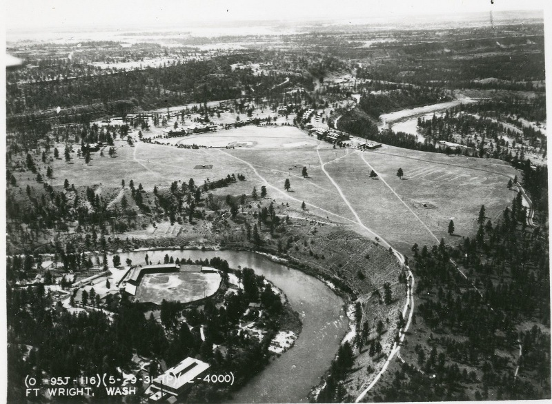 Aerial View of the Fort and Spokane River