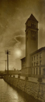Great Northern depot and tower in the late afternoon