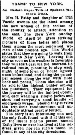 Newspaper article about Helga and Clara's famous walk.