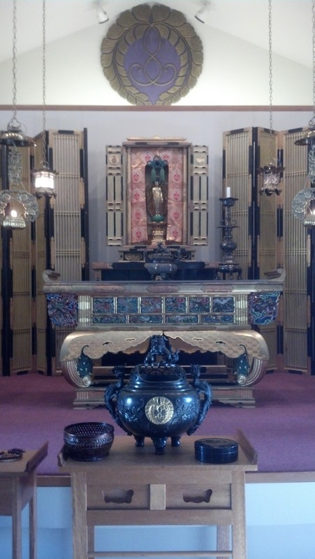 Spokane Buddhist Temple Shrine and Buddha statue.
