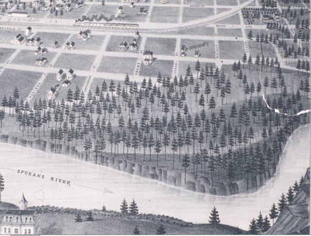 Bird's eye view of Spokane Falls, W.T., (1884)