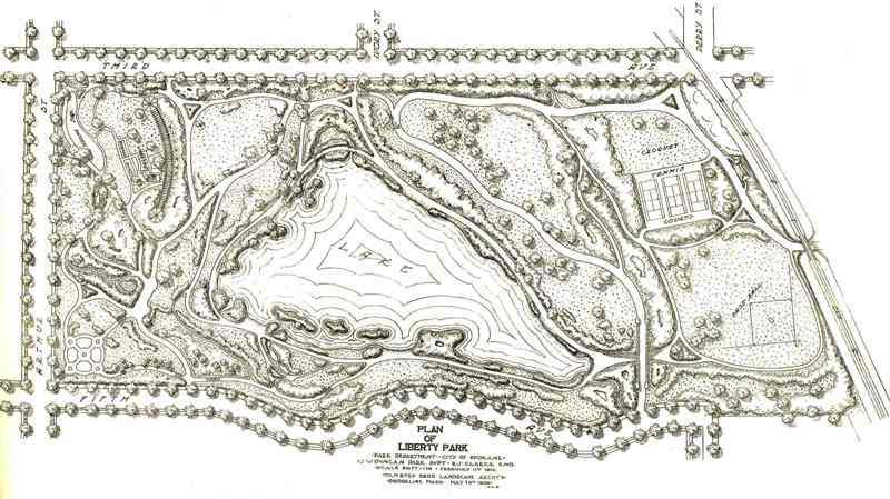 Olmsted Brother's Liberty Park Plan, 1909