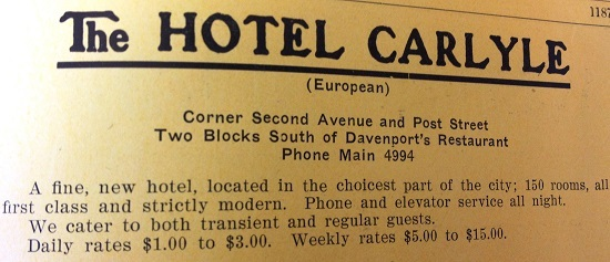 Carlyle Hotel Advertisement